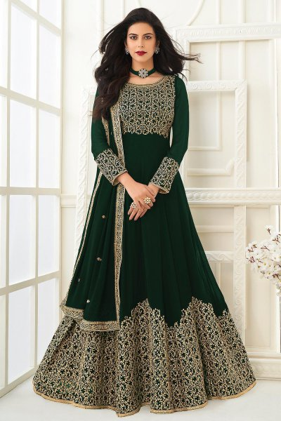 Green Zari Embroidered Anarkali Suit