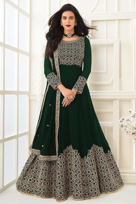 Green Zari Embroidered Anarkali Suit