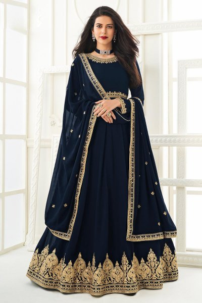 Navy Blue Zari Embroidered Anarkali Suit