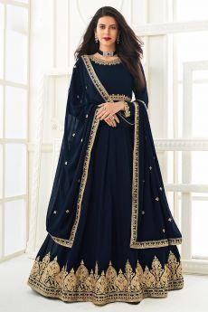 Navy Blue Zari Embroidered Anarkali Suit