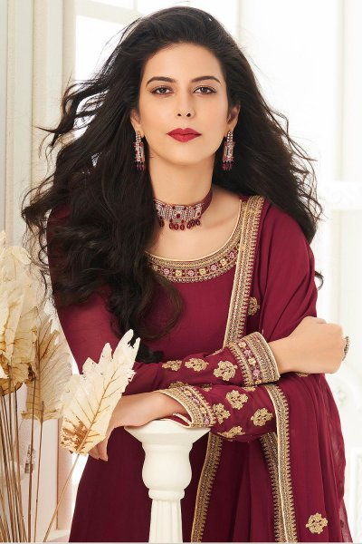 Burgundy Zari Embroidered Anarkali Suit