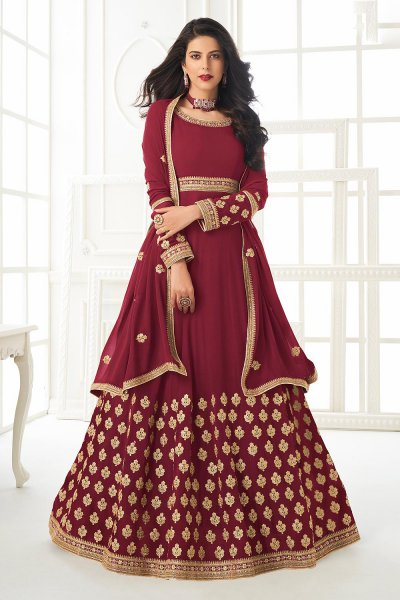 Burgundy Zari Embroidered Anarkali Suit
