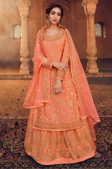 Orange Silk Straight Cut Kurta with Net Embroidered Lehenga