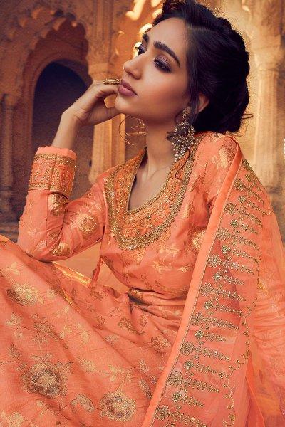 Orange Silk Straight Cut Kurta with Net Embroidered Lehenga