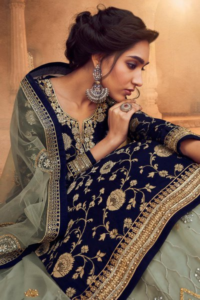 Navy Blue Silk Straight Cut Kurta with Grey Net Embroidered Lehenga