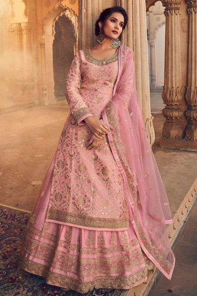 Pink Silk Straight Cut Kurta with Net Embroidered Lehenga