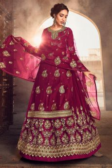 Burgundy Silk Straight Cut Kurta with Net Embroidered Lehenga