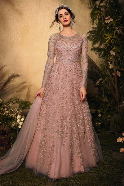 Dusky Pink Floral Embroidered Net Anarkali Suit
