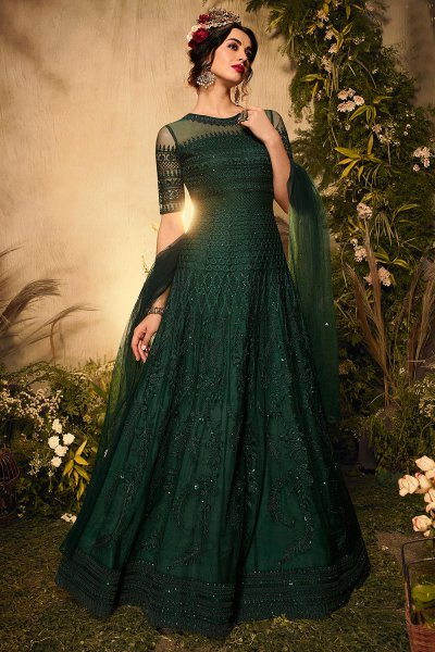 Bottle Green Rhinestone Embellished Anarkali Suit
