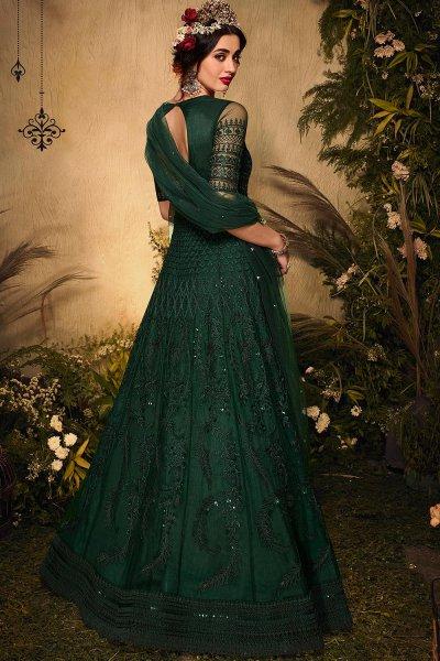 Bottle Green Rhinestone Embellished Anarkali Suit