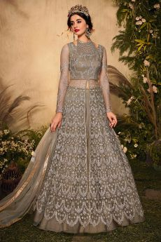 Taupe Zari Embroidered Anarkali with Lehnga/Pant