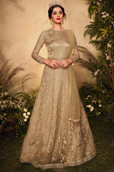 Beige Resham Embroidered Anarkali Suit in Net