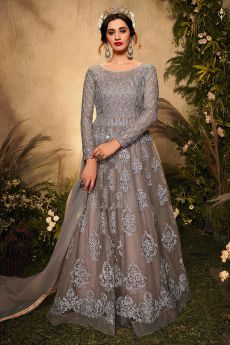 Grey Sequin Embellished Anarkali Suit in Net