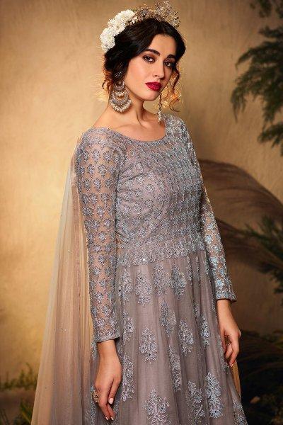 Grey Sequin Embellished Anarkali Suit in Net