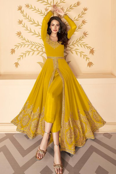 Dazzling Yellow Zari Embroidered Georgette Anarkali Suit