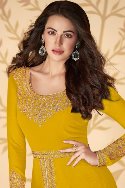 Dazzling Yellow Zari Embroidered Georgette Anarkali Suit with Dupatta