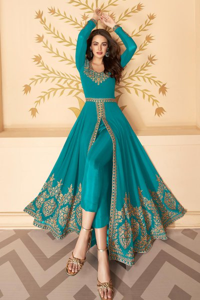 Dazzling Blue Zari Embroidered Georgette Anarkali Suit with Dupatta