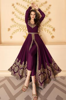 Dazzling Plum Embroidered Georgette Anarkali Suit