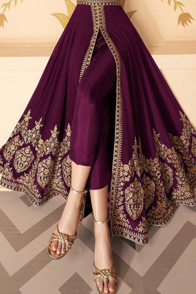 Dazzling Plum Embroidered Georgette Anarkali Suit