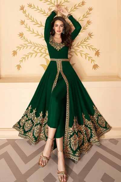 Dazzling Bottle Green Zari Embroidered Georgette Anarkali Suit