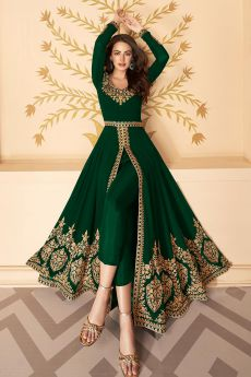 Dazzling Bottle Green Zari Embroidered Georgette Anarkali Suit