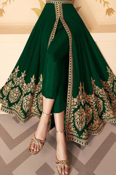 Dazzling Bottle Green Zari Embroidered Georgette Anarkali Suit with Dupatta