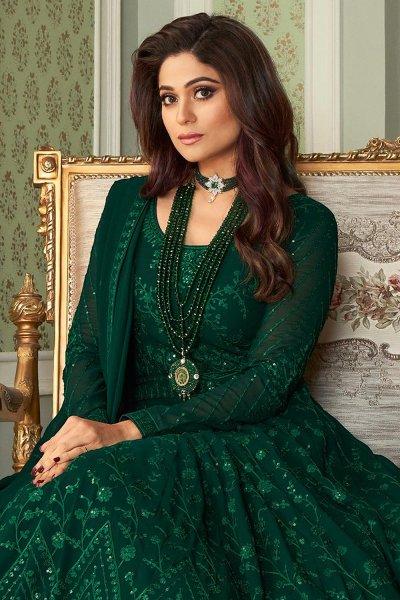 Bottle Green Embroidered Anarkali Suit