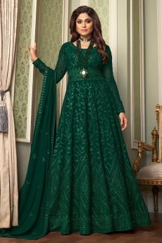 Bottle Green Embroidered Anarkali Suit