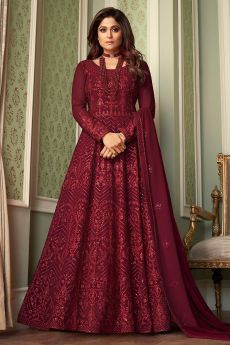 Maroon Embroidered Anarkali Suit