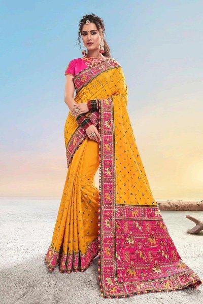 Mustard Kutch Hand Embroidered Satin Silk Saree