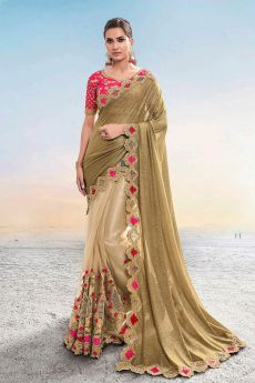 Golden Beige Embroidered Indian Saree