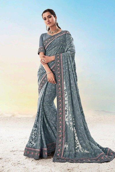 Grey Georgette Lucknowi Designer Saree