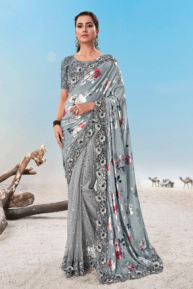 Light Grey Floral Printed Designer Saree