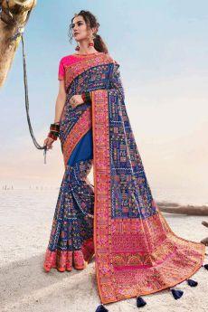 Royal Blue Kutch Hand Embroidered Satin Silk Saree