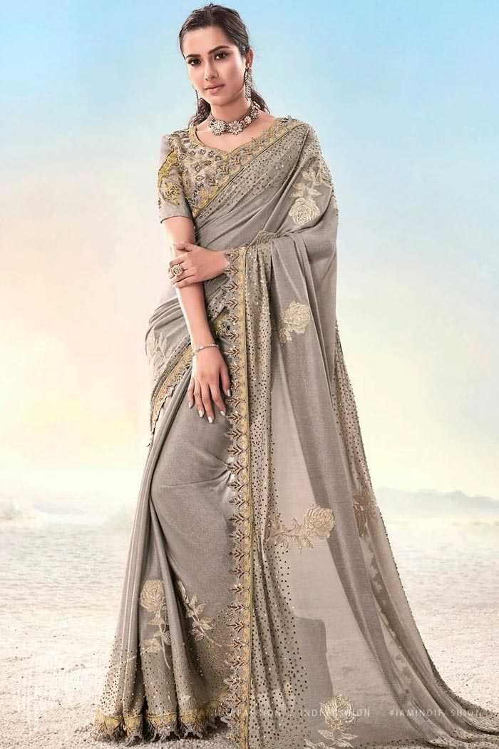 Taupe Crystal Embellished Party Wear Saree
