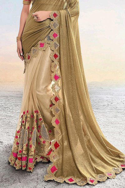 Golden Beige Embroidered Indian Saree