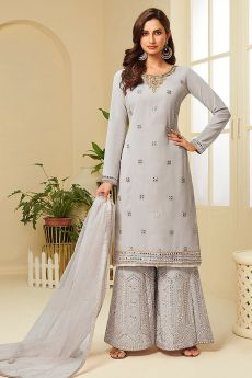 Grey Resham Embroidered Georgette Palazzo Suit with Gota Work