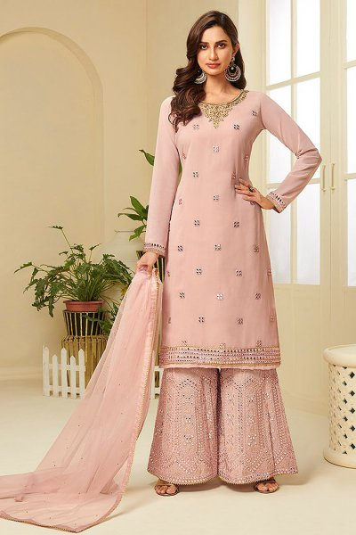 Dusky Pink Resham Embroidered Georgette Palazzo Suit with Gota Work