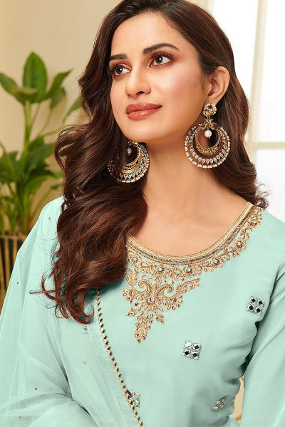Mint Resham Embroidered Georgette Palazzo Suit with Gota Work