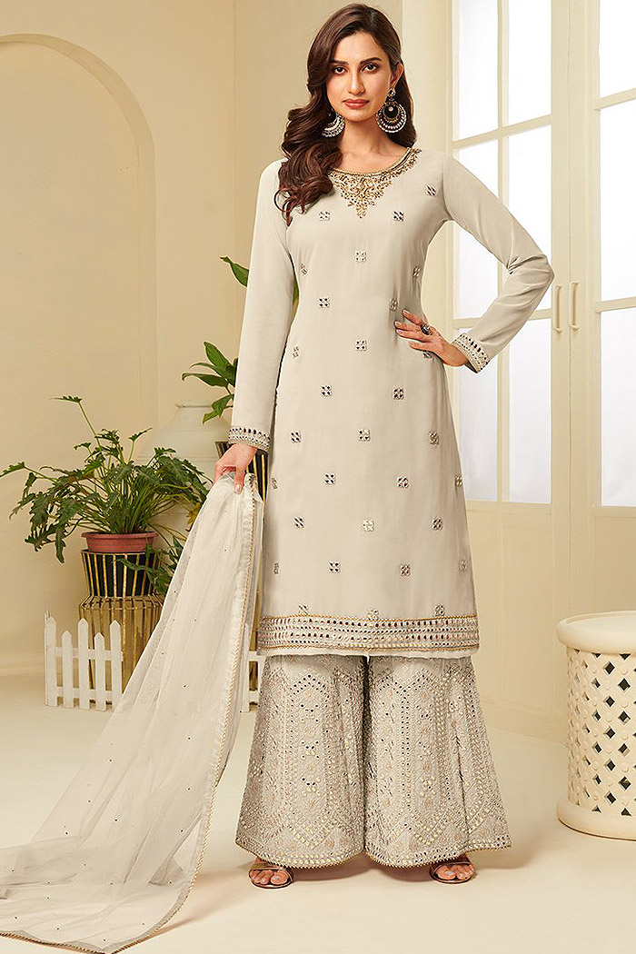 Taupe Resham Embroidered Georgette Palazzo Suit with Gota Work