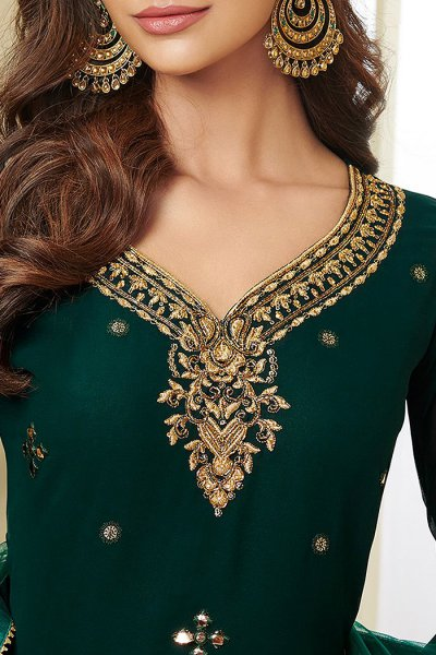 Bottle Green Resham Embroidered Georgette Palazzo Suit with Gota Work