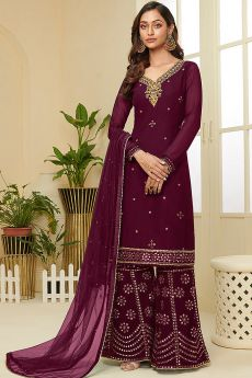 Plum Resham Embroidered Georgette Palazzo Suit with Gota Work
