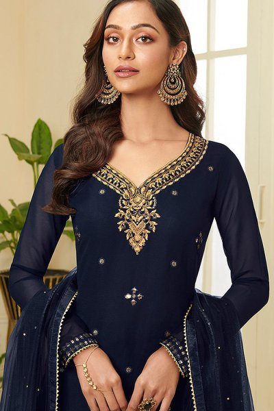 Navy Resham Embroidered Georgette Palazzo Suit with Gota Work