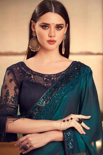 Teal Blue Designer Silk Saree