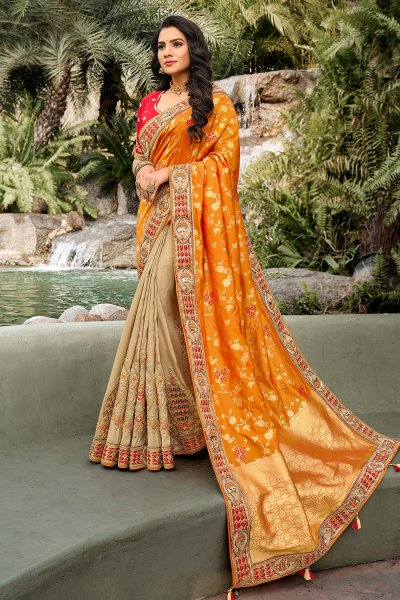 Orange and Beige Banarasi Silk Saree