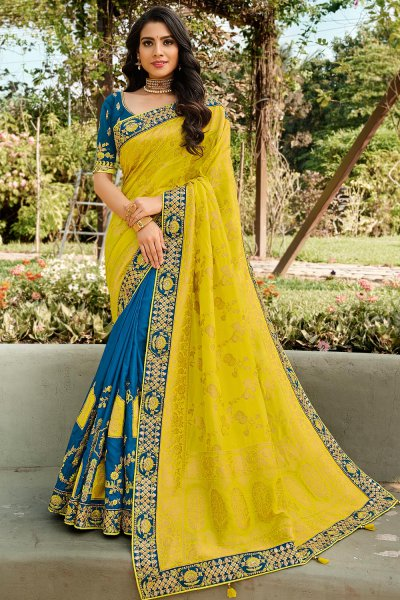 Banarasi Silk Lime Green and Teal Blue Embroidered Saree