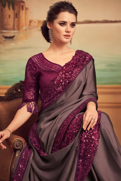 Cocoa Brown and Plum Embellished Silk Saree