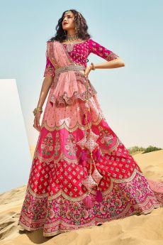Pink Silk Zari Embroidered Lehenga Choli Set