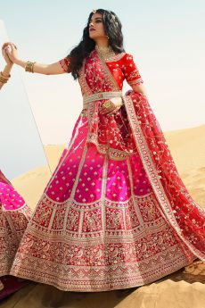 Pink and Maroon Silk Zari Embroidered Lehenga Choli Set