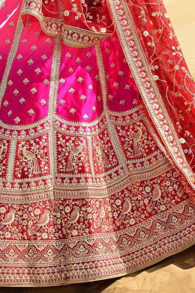 Pink and Maroon Silk Zari Embroidered Lehenga Choli Set